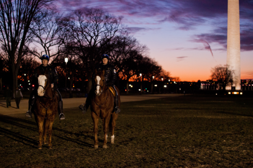 Two National Park Policeman on horseback. Photo by Quentin Kruger, U.S. Department of Energy.