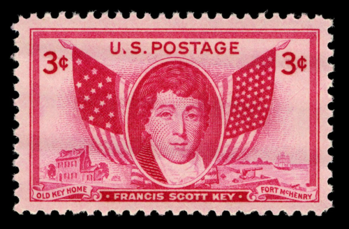 A 1948 stamp commemorating Francis Scott Key in the collection of the Smithsonian's National Postal Museum