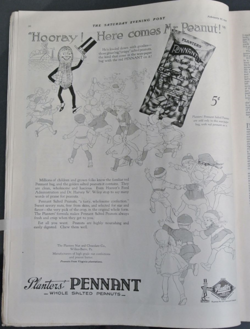 "Planters debuted Mr. Peanut in the ""Saturday Evening Post"" on February 23, 1918."