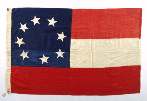 "The Confederate States of America's first national flag was also known as the ""Stars & Bars."" This flag flew from 1861 to 1863. Each of the eight stars represented a Confederate state in March 1861 when the flag was adopted. The similarity of the design of the Confederate flag and the Union ""Stars and Stripes"" made it difficult to distinguish between the two in the heat of battle. This resulted in troops firing on their own men—or ""friendly fire""—and in the capture of a number of prisoners of war."
