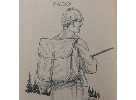"A&F catalog, 1922, Trade Literature Collection, National Museum of American History Library. This pack was ""made famous by 'Nessmuk,' the old-time woods traveler and writer"" and was designed ""for carrying light loads in compact form."""