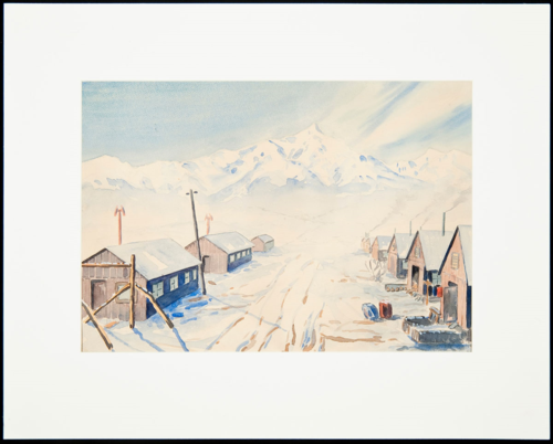 This watercolor is an image of Manzanar War Relocation Center in California