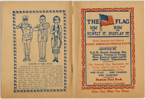 "Patriots Text Book. In the 1920s, when the U.S. Flag Code was created, teaching respect for the flag was considered an essential part of ""Americanization,"" the process of assimilating immigrants into loyal, English-speaking citizens.and desecrating the flag used to be a federal crime, but with the 1989 case of Texas v. Johnson, the U.S. Supreme Court ruled that flag anti-desecration laws violated the First Amendment right to freedom of speech. Today, the U.S. Flag Code is purely advisory. This explains why companies today can legally use images of the flag to advertise their products. Even without official flag rules, people still believe in treating the American flag with great respect and honor."