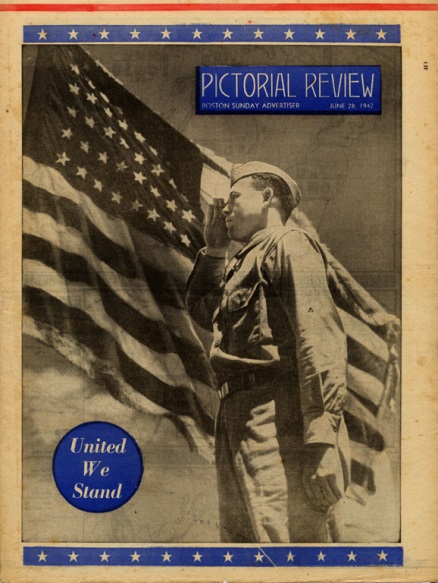 Image of soldier saluting the flag. Note the forehead salute.