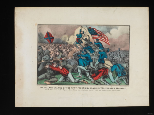 Print of the battle at Fort Wagner