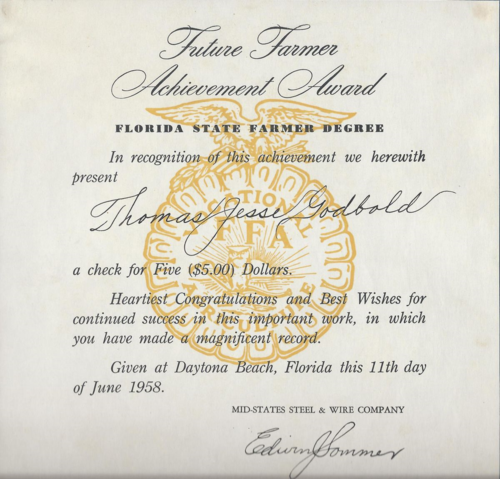 Future Farmer Achievement Award given to Jesse Godbold in 1958