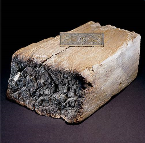 This piece of White House timber is thought to be from the British burning of Washington on August 24, 1814. President James and First Lady Dolley Madison fled before the structure went up in flames. Only the exterior walls survived the attack.
