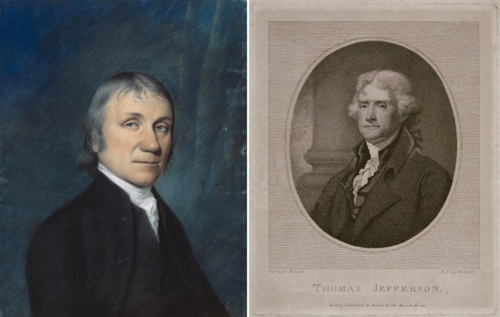 Left: portrait of Joseph Priestley by artist James Sharples. National Portrait Gallery, Smithsonian Institution, NPG.77.160. Right: portrait of Thomas Jefferson by Robert Field (copy after Gilbert Stuart), engraving on paper, 1807, National Portrait Gallery, Smithsonian Institution, NPG.82.179.