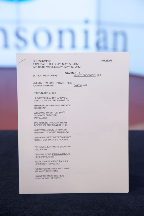 "The script from the 500th episode of ""The Wendy Williams Show"" in May 2012. Courtesy ""The Wendy Williams Show""."