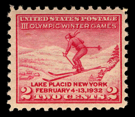 A commemorative stamp for the 1932 Winter Olympic Games held in Lake Placid, New York, U.S.A.