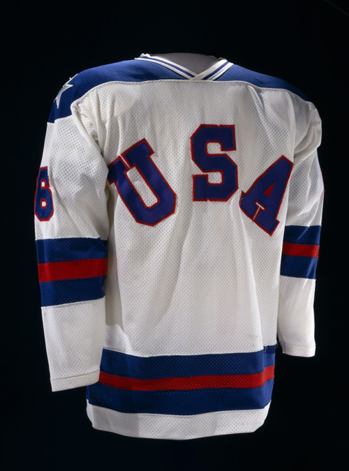 Bill Baker's jersey worn during the Miracle on Ice game