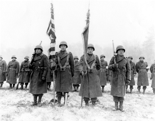 The 442nd Regimental Combat Team received a citation for its battlefield gallantry. France, 1944. Courtesy National Archives