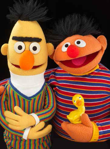 Bert and Ernie from 1969 are on display in the second round of puppets. MUPPET characters are registered trademarks of Disney Muppets Studio © Disney. Courtesy of The Jim Henson Company. Gift of the Jim Henson Family.