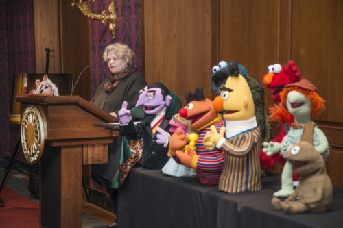 Bonnie shares Henson puppet stories at the donation ceremony