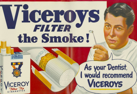 Advertisers incorporated a wide range of trusted authority figures, including health professionals, to market products for tobacco companies, such as this 1949 ad produced for the Brown & Williamson Tobacco Corporation
