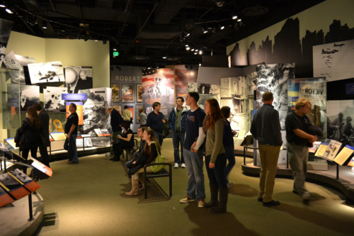 Themed looking helps keep kids engaged in exhibitions that aren't inherently interactive. In a military history exhibition, you might try to find as many different types of uniforms as you can.