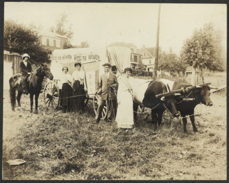 Women's Political Union delegation with oxcart, ca. 1910-1915, Courtesy of Women of Protest: Photographs from the Records of the National Woman's Party, Manuscript Division, Library of Congress [mnwp.276008]