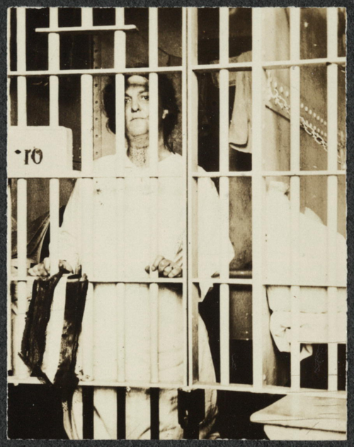 "Suffragist Helena Hill Weed, jailed three days for carrying a banner reading, ""Governments derive their just powers from the consent of the governed."" Courtesy of Women of Protest: Photographs from the Records of the National Woman's Party, Manuscript Division, Library of Congress, Washington, D.C. [mnwp.275034]"