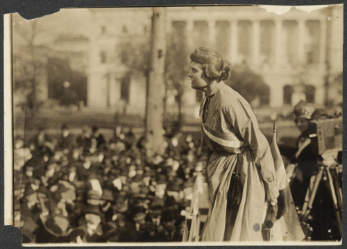 Suffragist Lucy Branham in Occoquan prison dress on the Prison Special Tour, 1919. Courtesy of Women of Protest: Photographs from the Records of the National Woman's Party, Manuscript Division, Library of Congress [mnwp.276031]