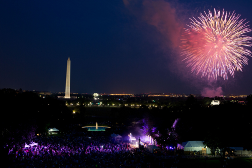 Fireworks erupt over the National Mall, July 4, 2012. Official White House Photo by Pete Souza.