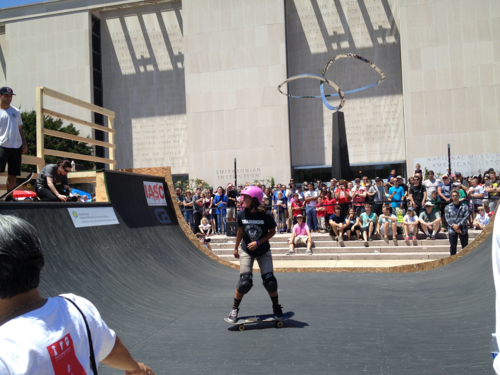 Visitors enjoy Innoskate, a celebration of the inventive-ness of skate culture, outside the museum