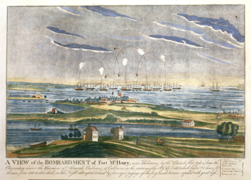"A View of the Bombardment of Fort McHenry Print by J. Bower, Philadelphia, 1816. One of the soldiers who was in the fort during the 25-hour bombardment wrote, ""We were like pigeons tied by the legs to be shot at."""