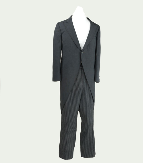 Suit with Black swallow tail jacket and striped pants worn by Groucho Marx. Gift of Groucho Marx Estate.