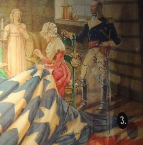 "The likeness of Grace Wisher is unknown. However, the Star Spangled Banner Flag House is home to a portrait with her figure traced in, to recognize her contribution. Detail of ""Placing the Stars on the Flag that Inspired Francis Scott Key to Write Our National Anthem"" by Robert McGill Mackall, ca. 1962."