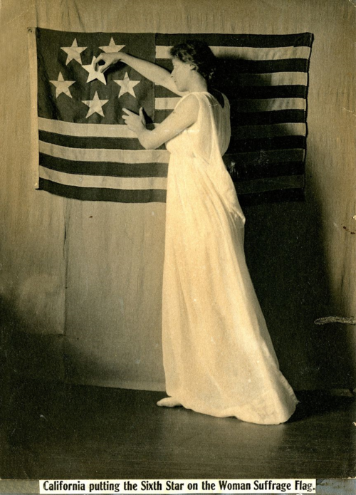 In this 1911 postcard created by the National American Woman Suffrage Association, the stars on the flag represent states that have voted for suffrage. Throughout American history, many interest groups have used flag imagery to promote their cause.