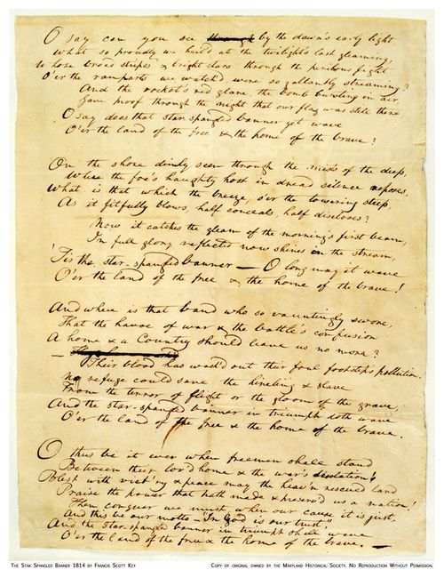Key's manuscript, from the Maryland Historical Society