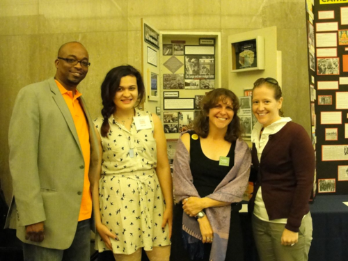 Aurora Quezada of City Neighbors High School in Baltimore represented Maryland at the museum in 2012. She is pictured with her teacher Kristine Sieloff and school administrators, who came to see her exhibit on display. Image courtesy of the Maryland Humanities Council.
