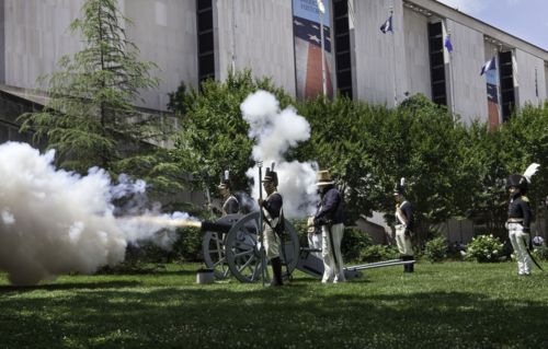 Cannon firing demonstrations outside the museum delighted visitors