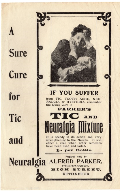 An advertisement for medicine that will cure toothaches, neuralgia, and hysteria