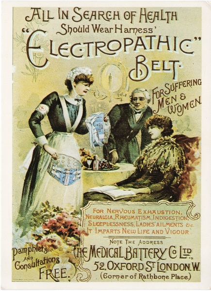 An advertisement for the Electropathic Belt that claims it would treat a variety of ailments