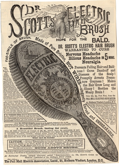 An advertisement for Dr. Scott's Electric Hairbrush that claims it would treat any ailments in or on the head such as headaches and baldness