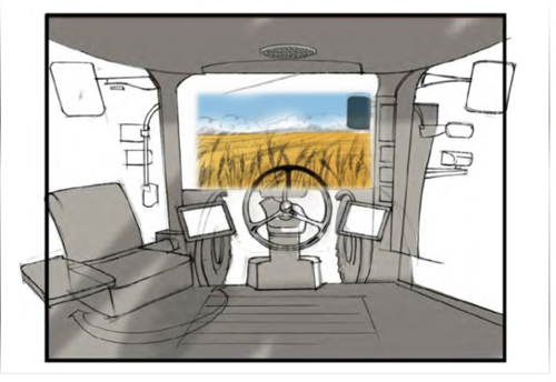 An early concept design for the interior of the cab in the Farming Challenge interactive