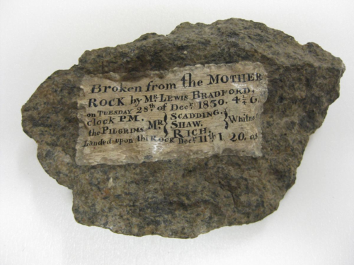 In the 19th century, travelers to Plymouth Rock in Massachusetts used a hammer to break off fragments and bring them home, such as this specimen from 1830. The practice fell out of favor around 1880.