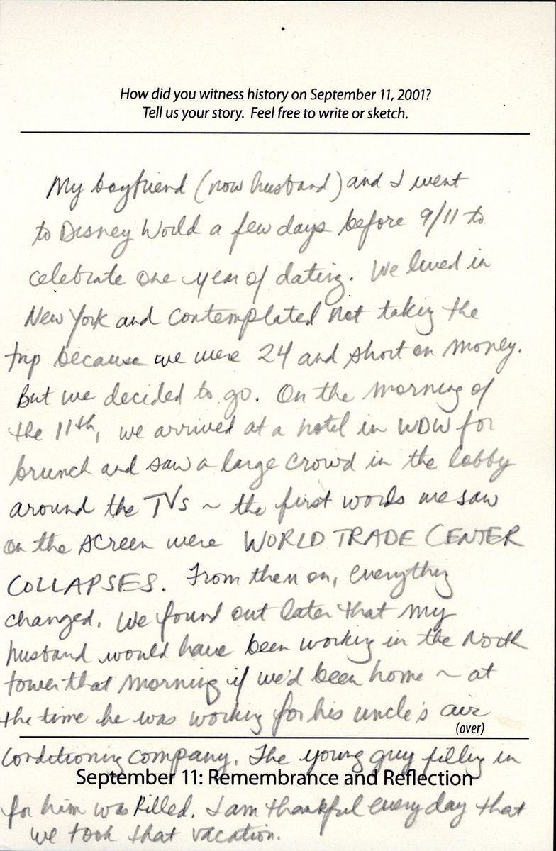 911 Digital Archives Visitors Tell Us Their Stories National