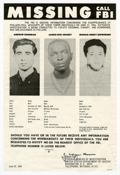 "Chaney, Goodman, and Schwerner on the ""Missing, Call FBI"" poster. From Ephemera/Civil Rights/1964/Box 5, 1961-1969 in the Mississippi Department of Archives and History Collection."