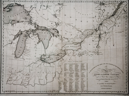 Map of Upper and Lower Canada, 1812, Thomas Kensett