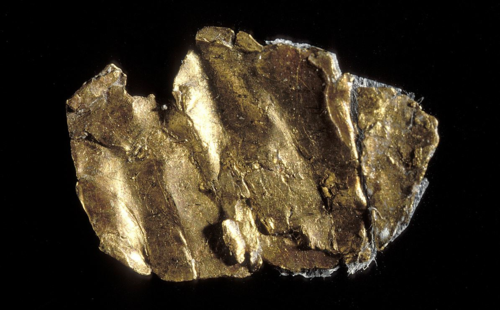 This small piece of yellow metal is believed to be the first piece of gold discovered in 1848 at Sutter's Mill in California, launching the gold rush.