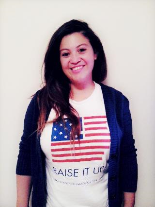 "Vanessa sports her ""Raise It Up!"" t-shirt"
