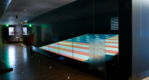 The Star-Spangled Banner flag, which inspired Francis Scott Key to pen the song that would become our national anthem, on display at the National Museum of American History