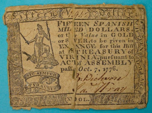 A Virginia #15 from 1776