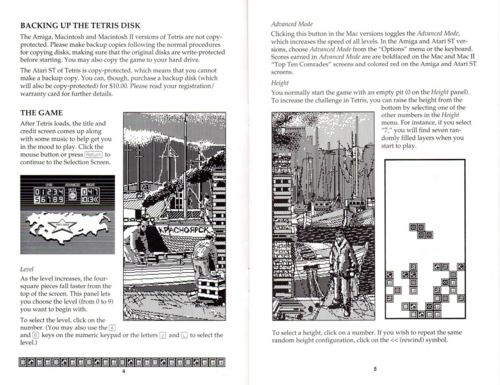 Two pages in the instruction manual that show the select screen with the USSR outline and an image of Russia that surrounds the gameplay field.