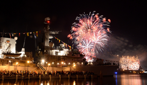 Fireworks explode over the HMS Argyll in Baltimore, Maryland, during the Star-Spangled Spectacular. Photo by Leading Airman Stephen Johncock. Used with permission.