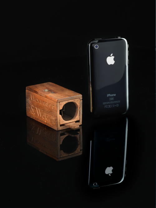 a comparison between the first US patented camera and John Paul Caponigro's iPhone