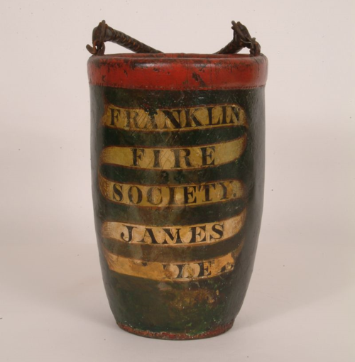 19th century leather fire bucket, probably from Massachusetts