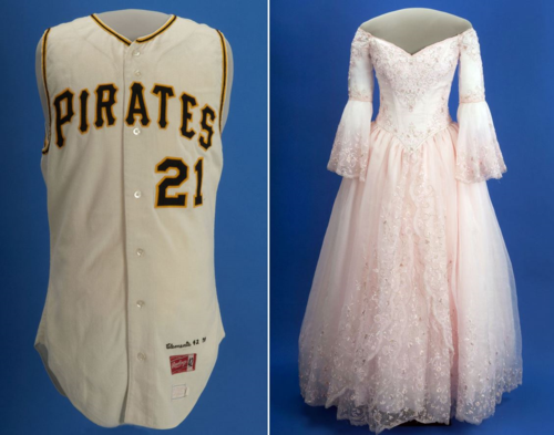 "Roberto Clemente's baseball jersey and Natalie Flores's Quinceañera dress are two of the many great Latino objects that have been exhibited in ""American Stories."""