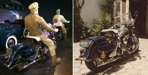 "On the left, the museum's 1942 Harley-Davidson motorcycle as it appears in ""America on the Move"", designed to fit mid-century Portland, Oregon. On the right, the motorcycle with its Guatemalan license plates, as it perhaps appeared when used by Jorge Ubico."